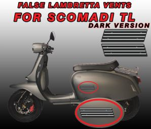False GP vent Decals / Stickers for Scomadi TL DARK version Turismo Leggera
